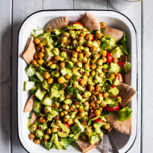 Fattoush Nachos with Crispy Za'atar Roasted Chickpeas