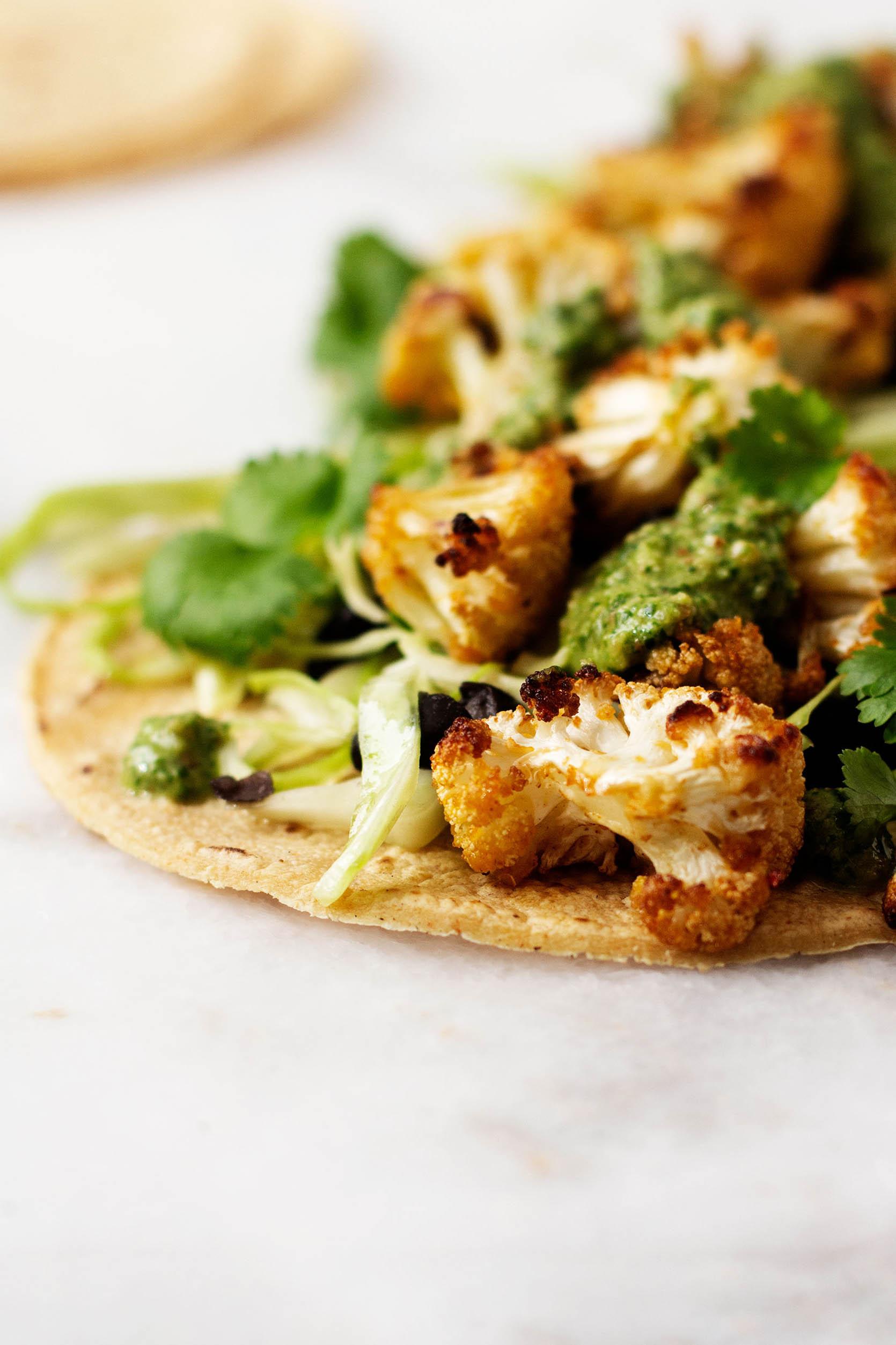 Crispy Cauliflower Chimichurri Tacos | The Full Helping