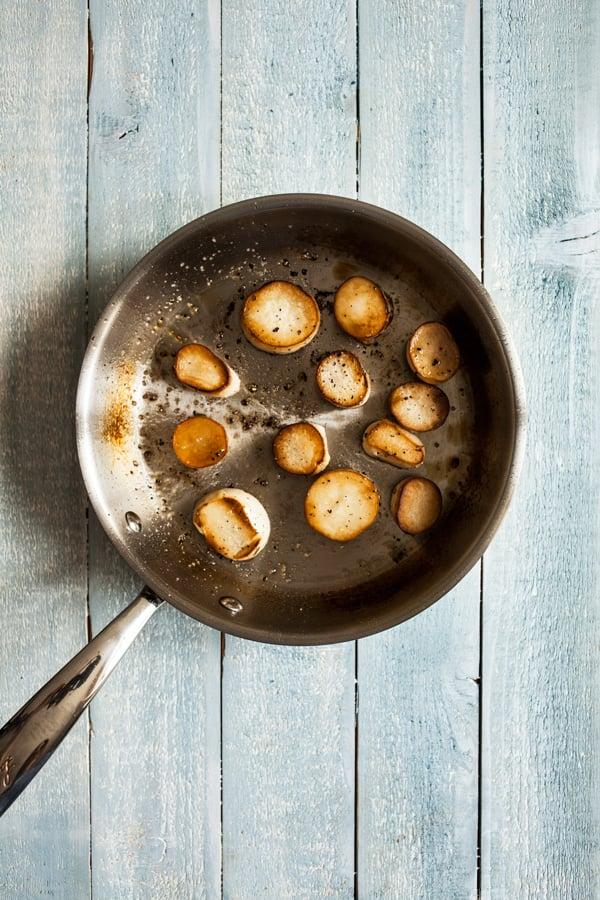 Summer Pasta with Mushroom Scallops, Burst Cherry Tomatoes & Zucchini | The Full Helping