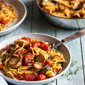 Summer Pasta with Mushroom Scallops, Burst Cherry Tomatoes & Zucchini