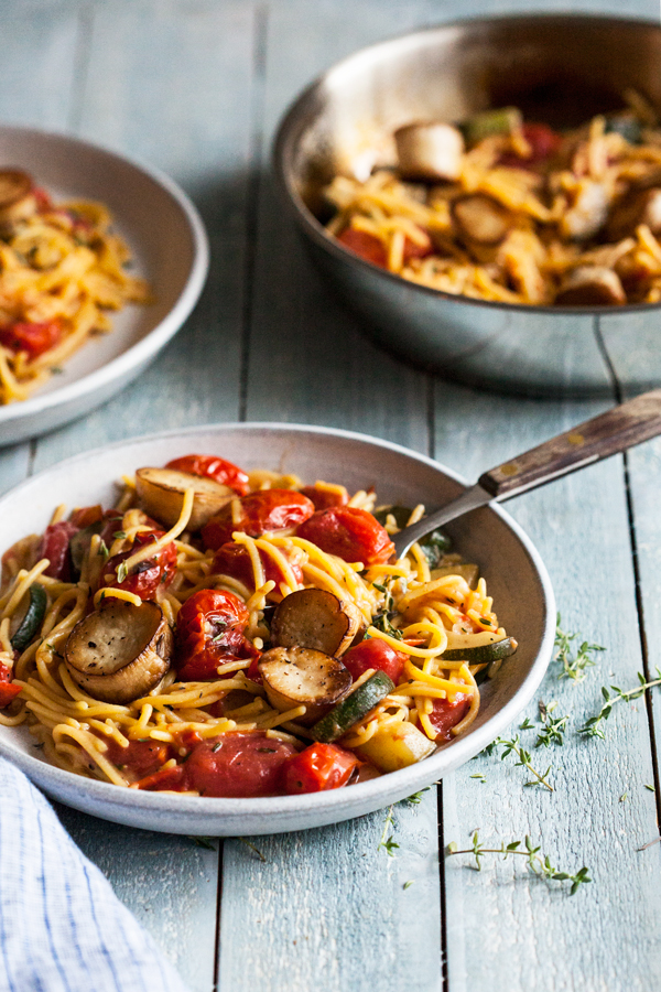 Summer Pasta With Mushroom Scallops Burst Cherry Tomatoes