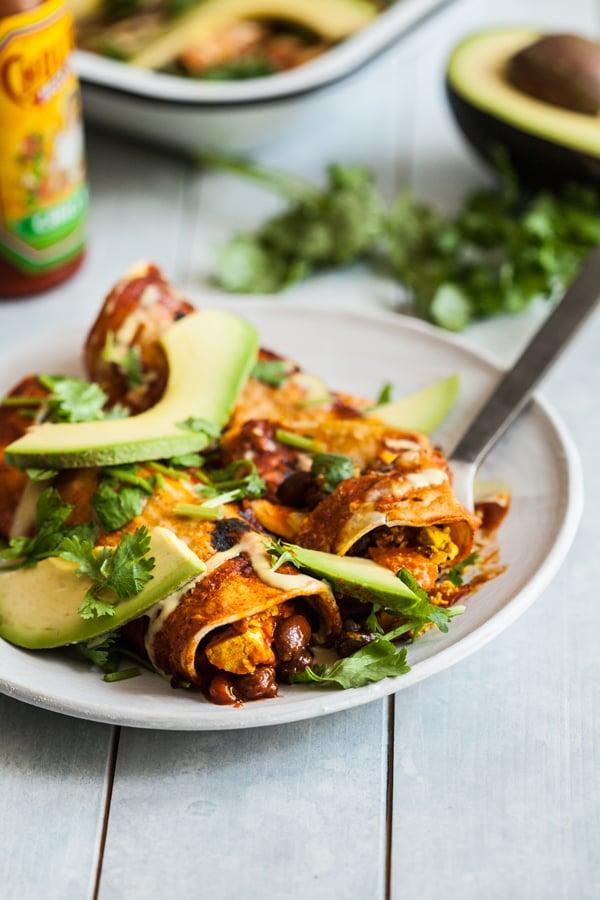 Tofu Scramble Black Bean Vegan Breakfast Enchiladas   The Full Helping