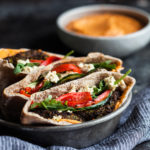 Mediterranean Pita Pockets with Kale Burgers & Roasted Red Pepper Hummus