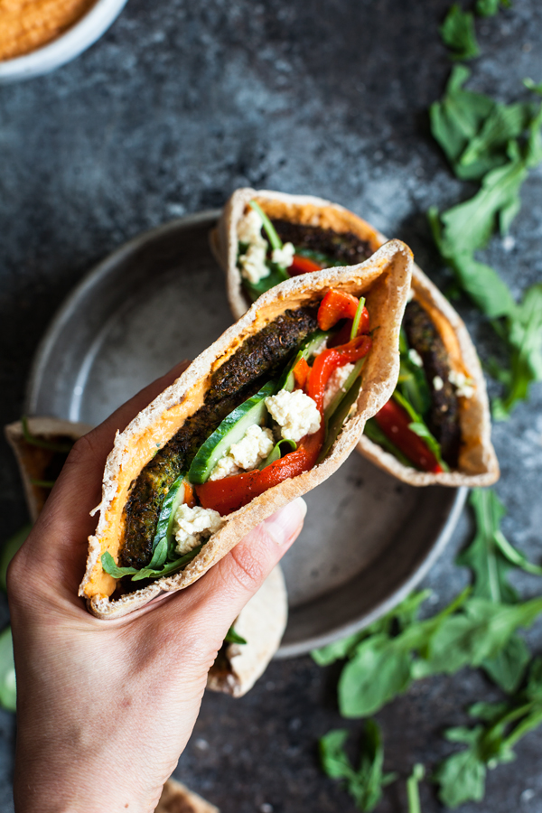 Mediterranean Pita Pockets with Kale Burgers & Roasted Red Pepper Hummus | The Full Helping