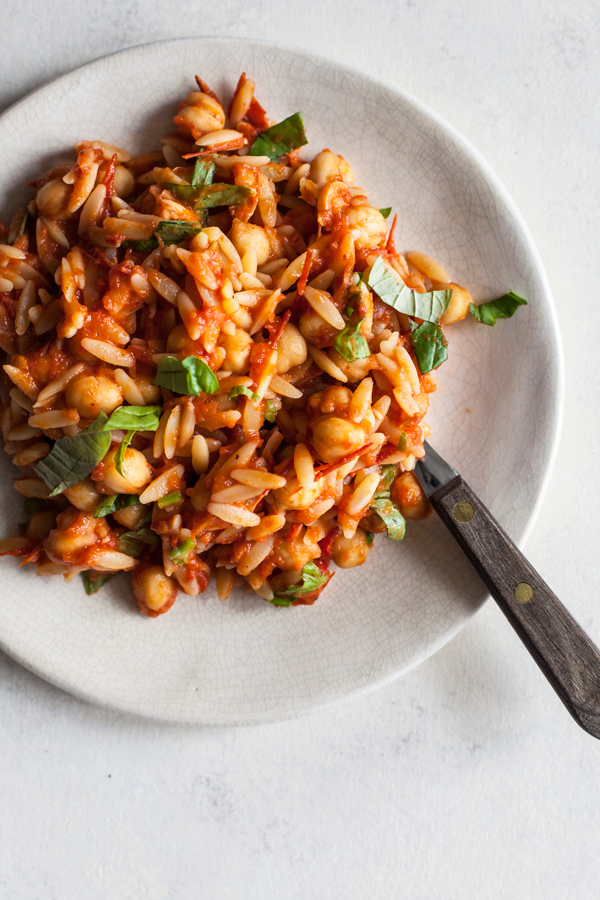 Chickpea Orzo with Homemade Roasted Tomato Sauce | The Full Helping
