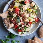 Vegan Barley Greek Salad with Herbed Tofu Feta
