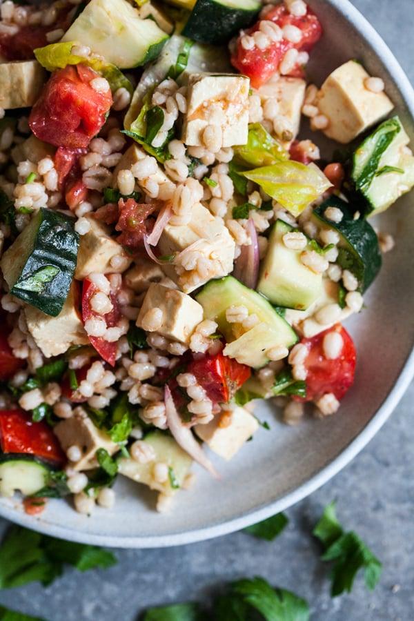 Vegan Barley Greek Salad with Herbed Tofu Feta | The Full Helping