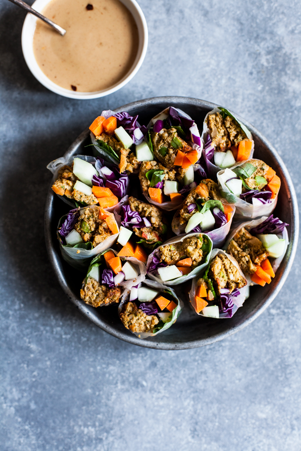 Asian Burger Summer Rolls with Spicy Hoisin Peanut Dipping Sauce | The Full Helping