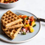 Crispy Vegan Cornmeal Waffles with Heirloom Tomato Peach Salsa