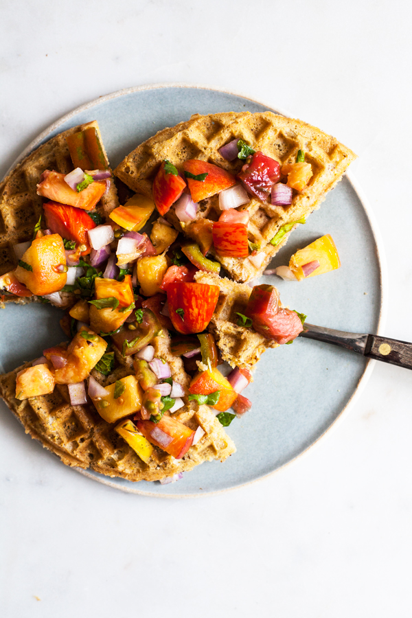 Crispy Vegan Cornmeal Waffles with Heirloom Tomato Peach Salsa | The Full Helping