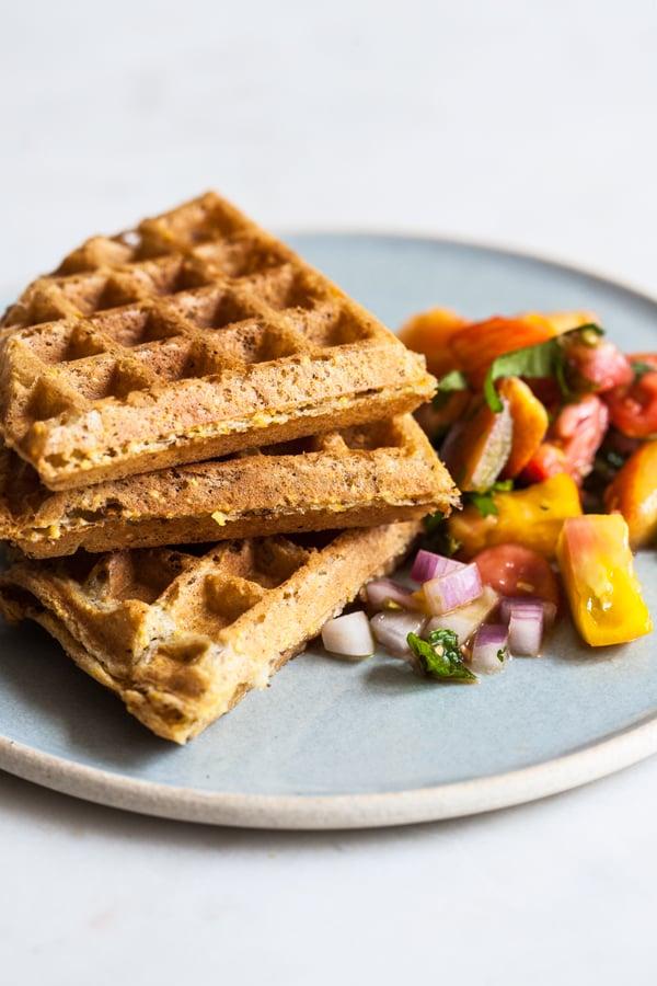 Crispy Vegan Cornmeal Waffles with Heirloom Tomato Peach Salsa | The Full Helping