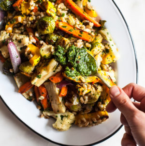 Farro & Roasted Vegetables with Italian Salsa Verde