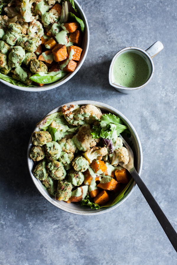 Roasted Vegetable & Kale Puff Nourish bowls with Creamy Hemp Herb Dressing | The Full Helping