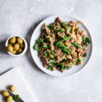 Skillet Seitan and Bulgur with Fennel & Olives