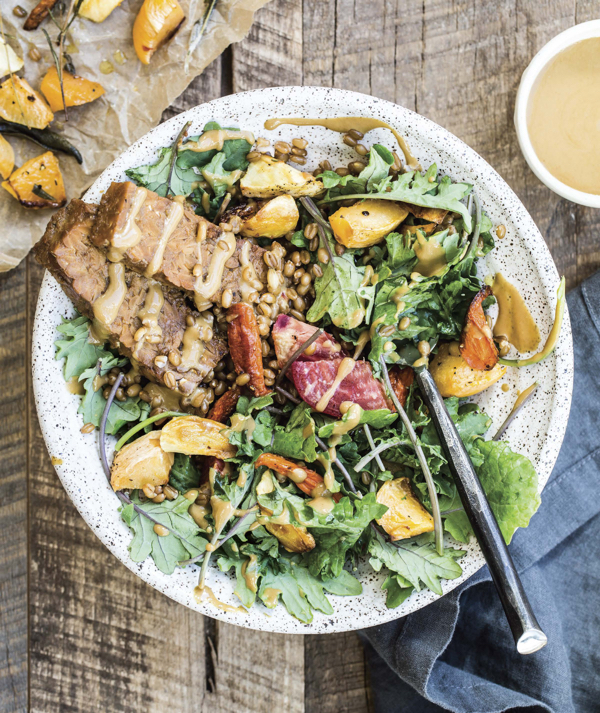 Harvest Bowls with Spelt Berries, Tempeh, & Roasted Root Vegetables from Power Plates