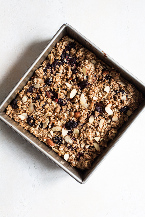 Sweet Cherry Oat Crumble Bars | The Full Helping