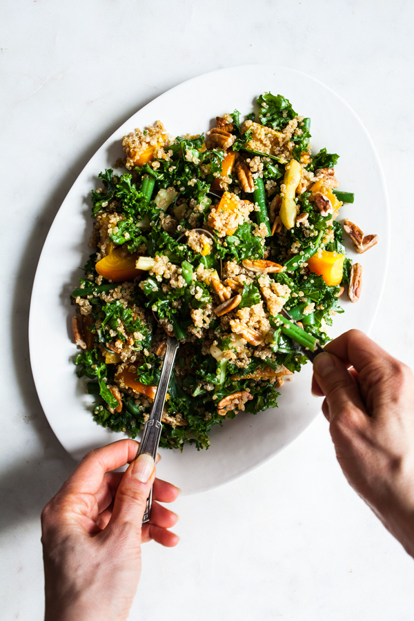 Maple Mustard Kale, Quinoa & Toasted Pecan Salad | The Full Helping