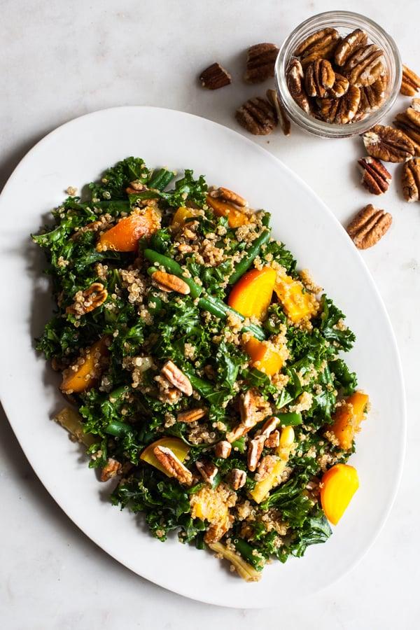 Maple Mustard Kale, Quinoa & Toasted Pecan Salad | The Full Helping