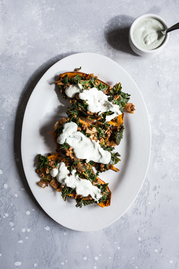 Smoky Lentil Kale Stuffed Sweet Potatoes with Pumpkin Seed Cream | The Full Helping