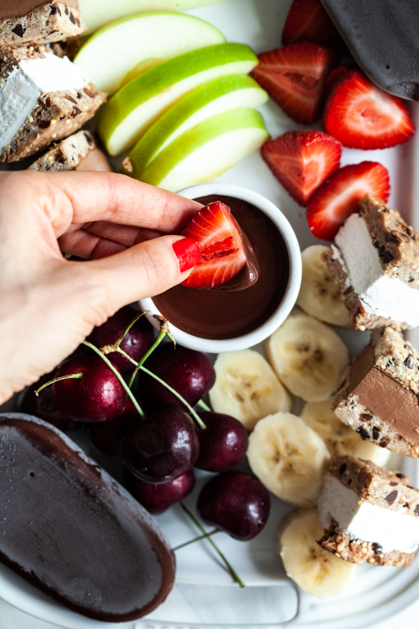 Vegan Chocolate Fondue Dessert Party Platter | The Full Helping