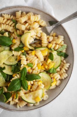 Creamy Zucchini Corn Pasta