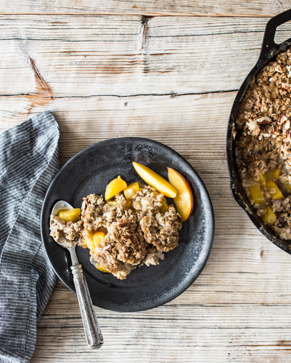 Skillet Baked Oatmeal with Summer Stone Fruit | The Full Helping