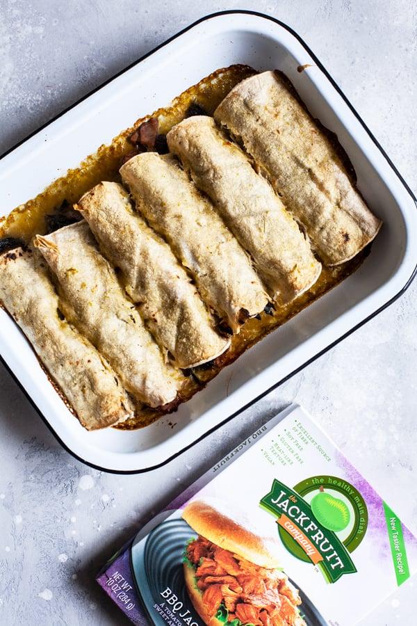 Vegan BBQ Jackfruit, Kale & Black Bean Enchiladas   The Full Helping