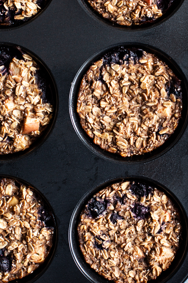 Apple Berry Baked Oatmeal Cups | The Full Helping