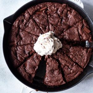 Fudgy Secret Ingredient Vegan Skillet Brownies