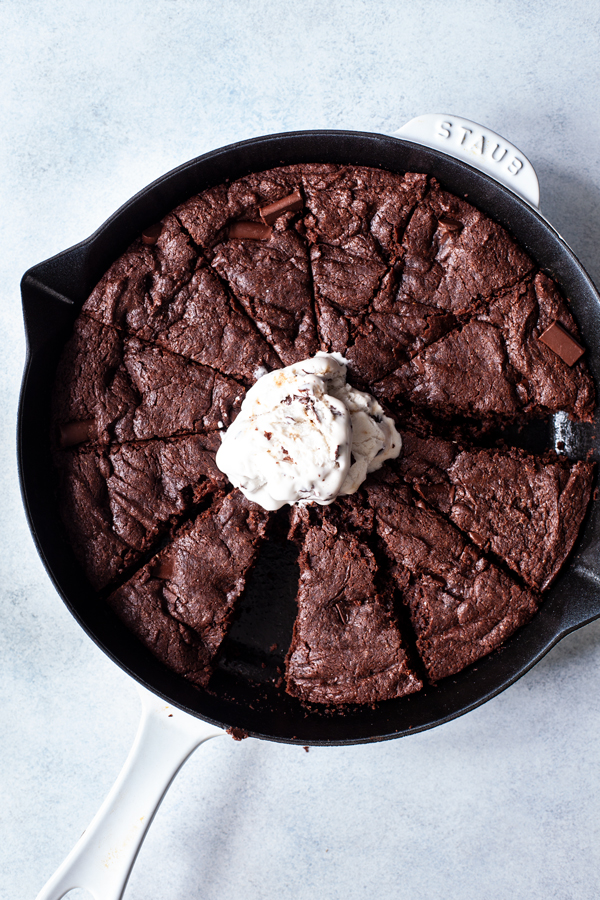 Fudgy Secret Ingredient Vegan Skillet Brownies