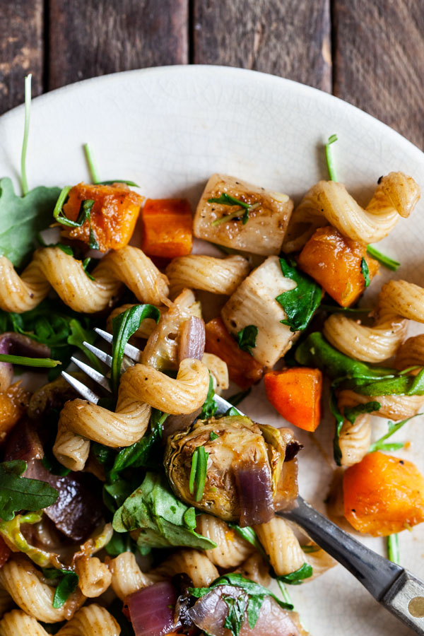 Favorite Winter Balsamic Roasted Vegetable Pasta | The Full Helping