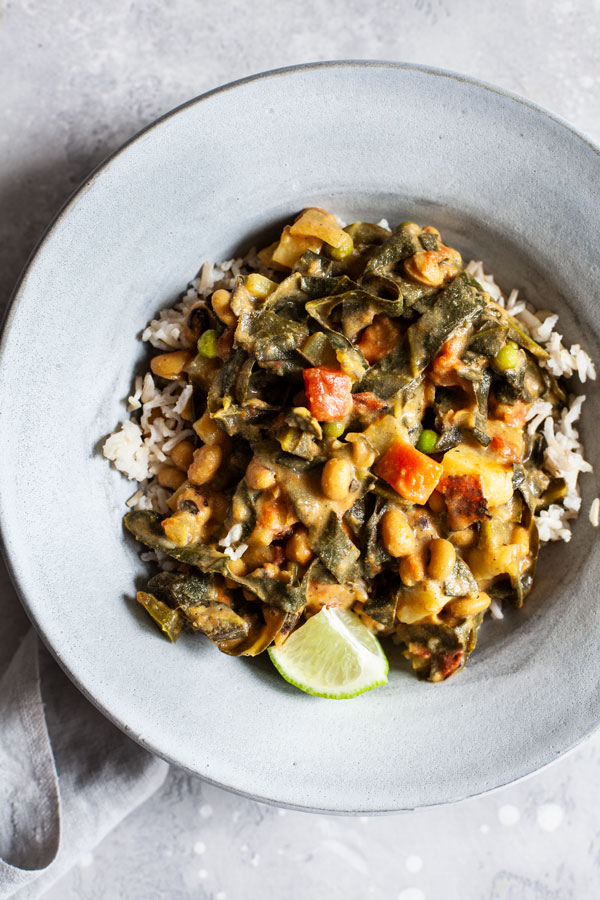 Caribbean Black Eyed Pea & Collard Green Curry
