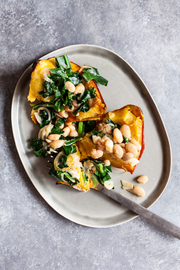 Stuffed Acorn Squash with Garlicky Beans & Greens | The Full Helping