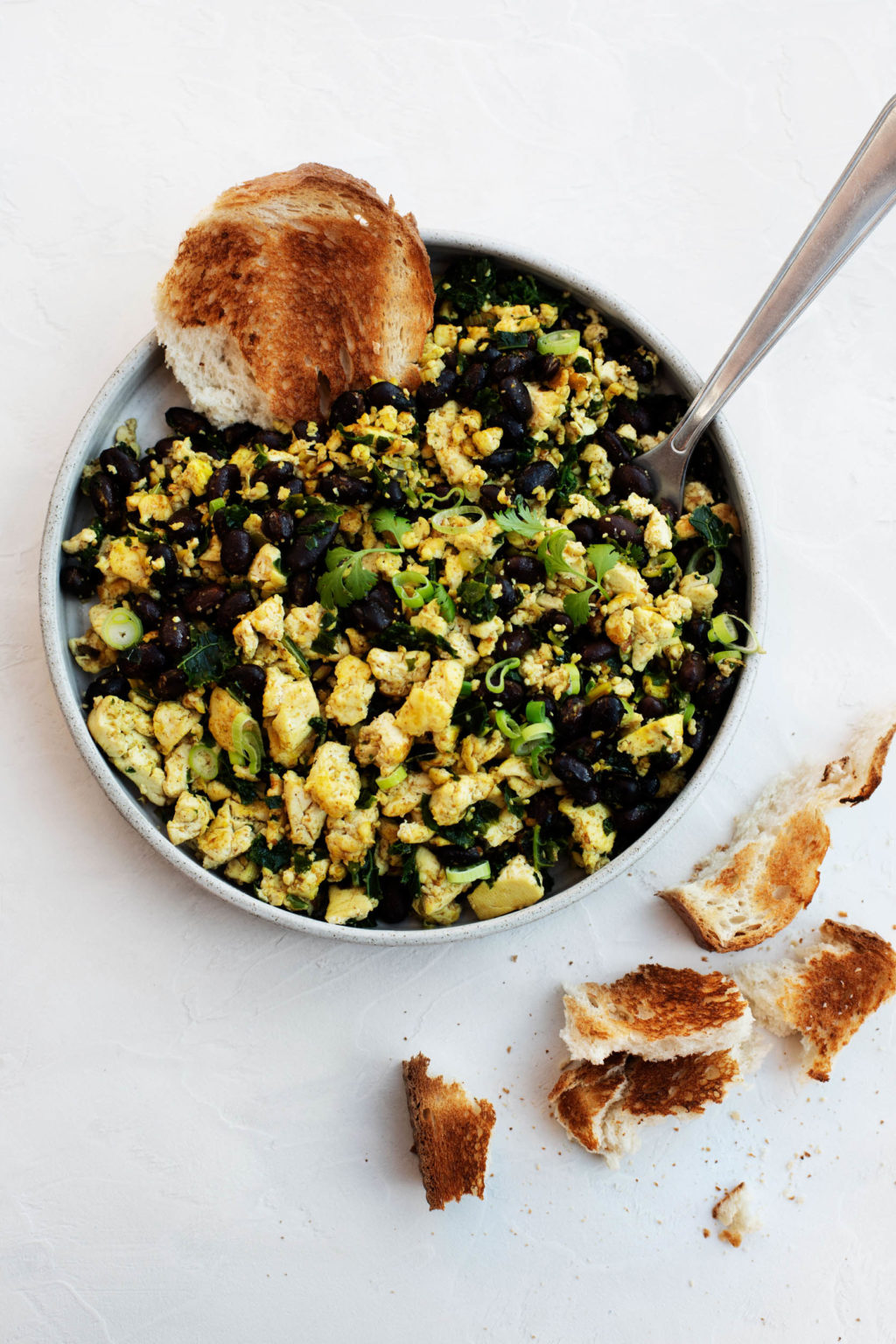 A round plate is filled with a black bean tofu scramble, made with chopped scallions and accompanied by small pieces of toast.