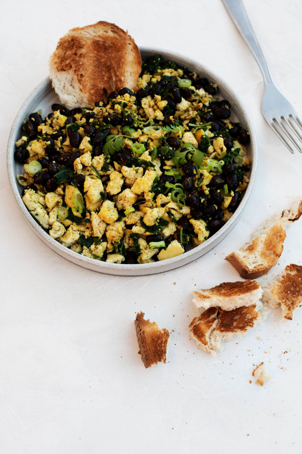 A savory plant based breakfast, made with black beans and crumbled tofu, is served on a round plate with small pieces of toast.