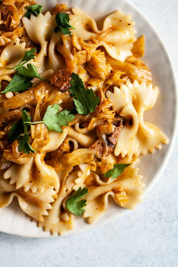 Caramelized Cabbage & Onion Pasta | The Full Helping