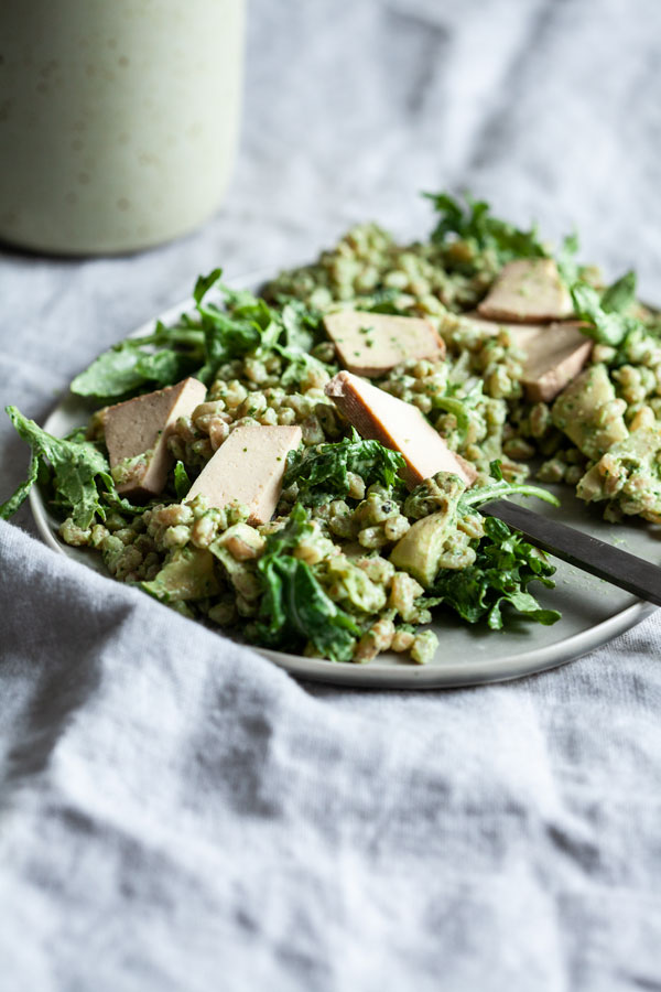 Pesto Farro & Baby Kale Salad | The Full Helping