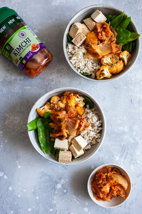 Chili Roasted Cauliflower, Brown Rice & Kimchi Bowls | The Full Helping