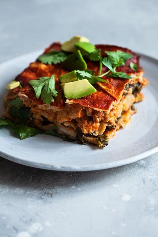 Vegan Chick'n Enchilada Breakfast Casserole | The Full Helping