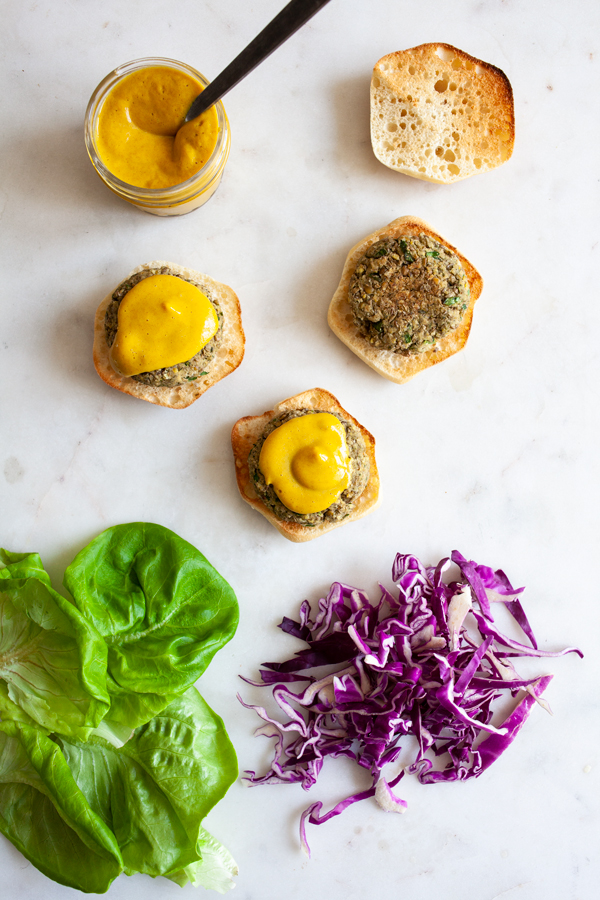 Green Lentil Hemp Seed Sliders with Spicy Dijon Date Mustard