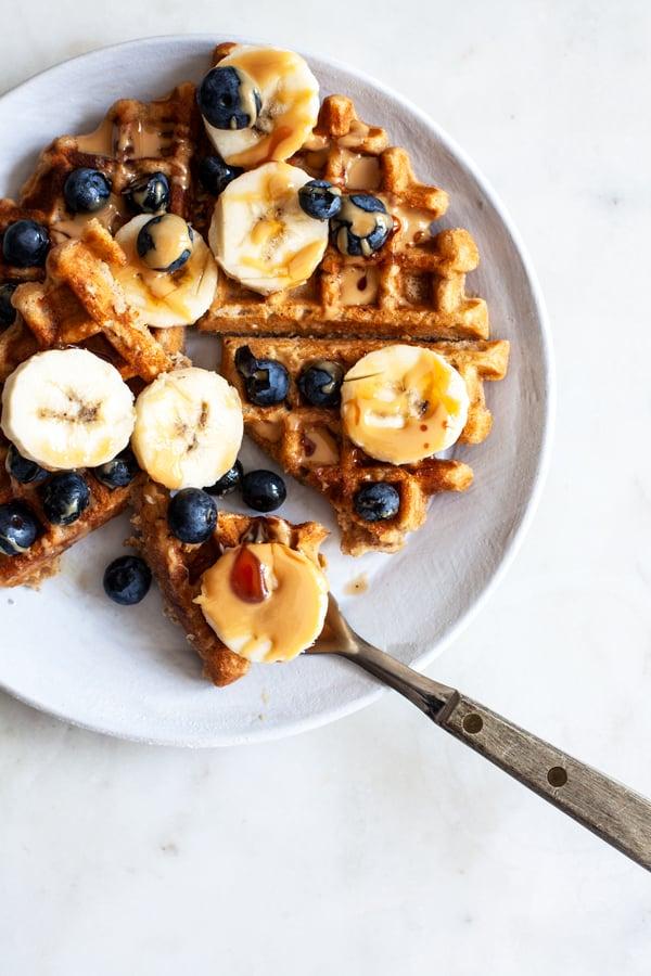 Vegan Peanut Butter Waffles | The Full Helping