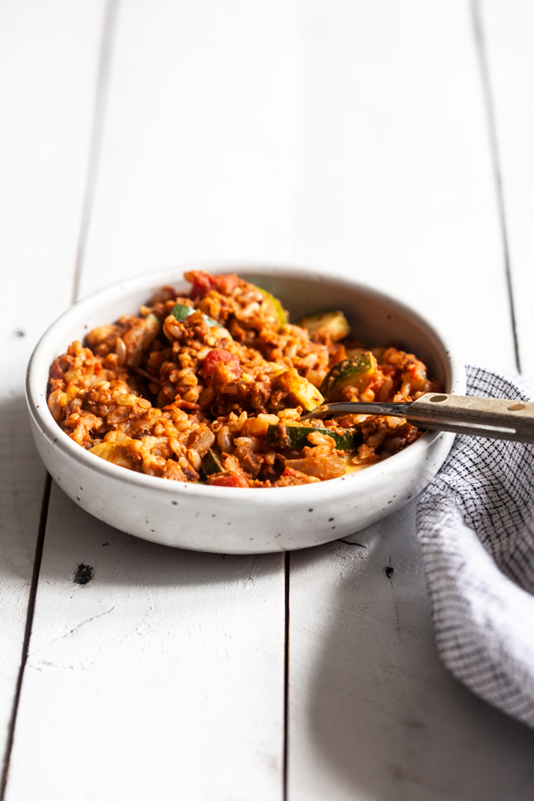 One-Skillet Spiced Lentil Walnut Rice