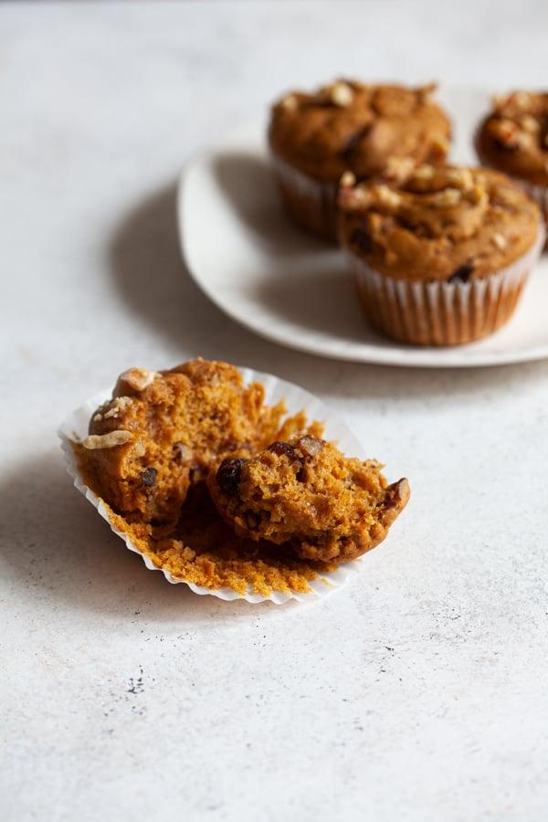 Vegan Pumpkin Cranberry Walnut Muffins | The Full Helping