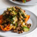 Vegan Beef and Zucchini Stuffed Sweet Potatoes