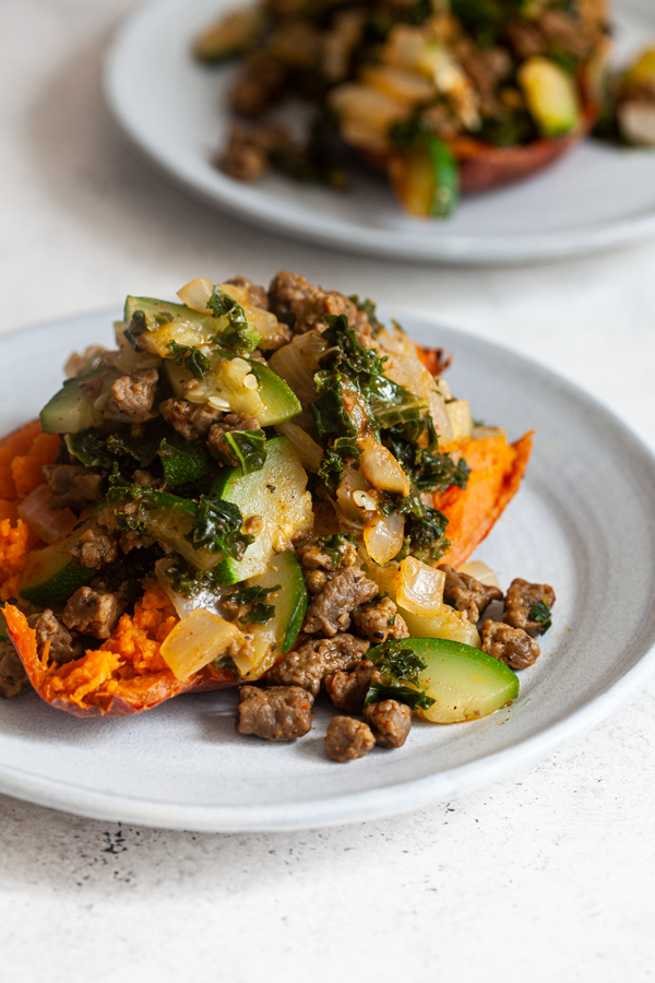Vegan Beef and Zucchini Stuffed Sweet Potatoes