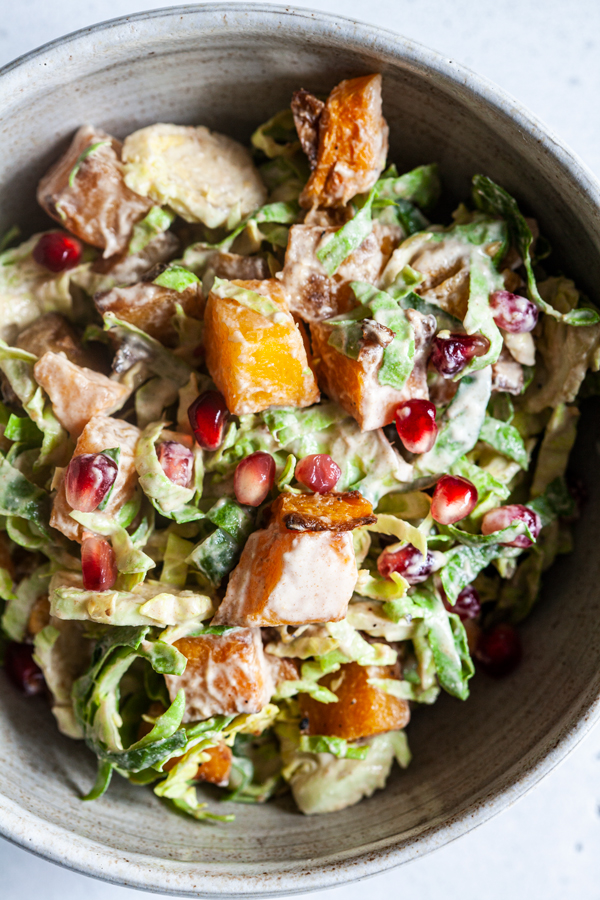 Roasted Butternut & Shaved Brussels Sprout Salad   The Full Helping