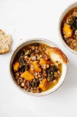 Butternut Kale Lentil Soup