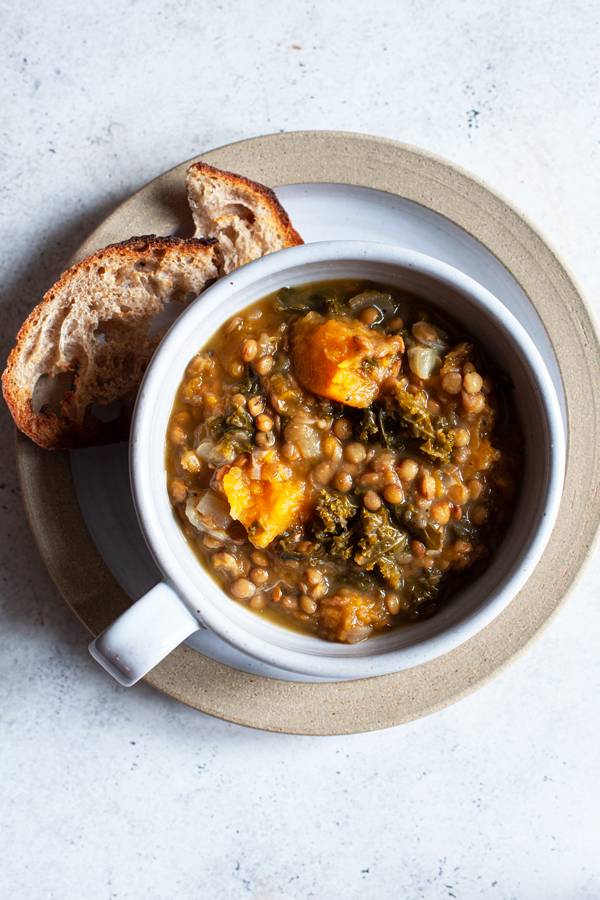 Butternut Squash, Kale & Lentil Soup with Herbs