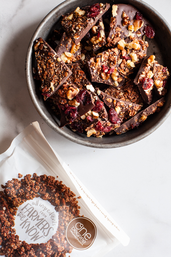 Vegan Dark Chocolate Granola Bark | The Full Helping