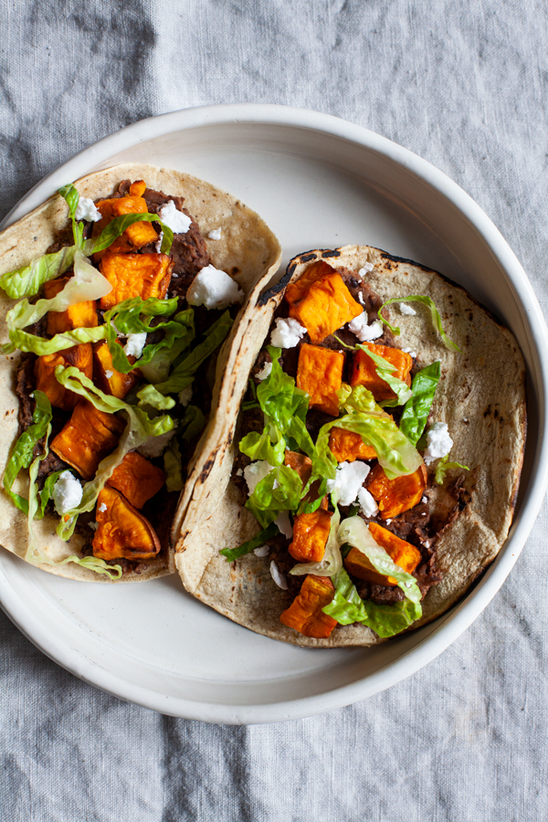 Easy Vegan Black Bean Sweet Potato Tacos | The Full Helping